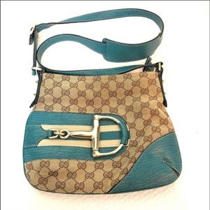 Gucci Horse-Bit Monogram Crossbody Turquoise Bag